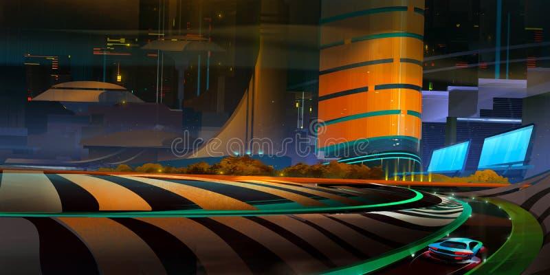 Patroszony fantastyczny nocy miasta krajobraz z drogą i samochodem royalty ilustracja