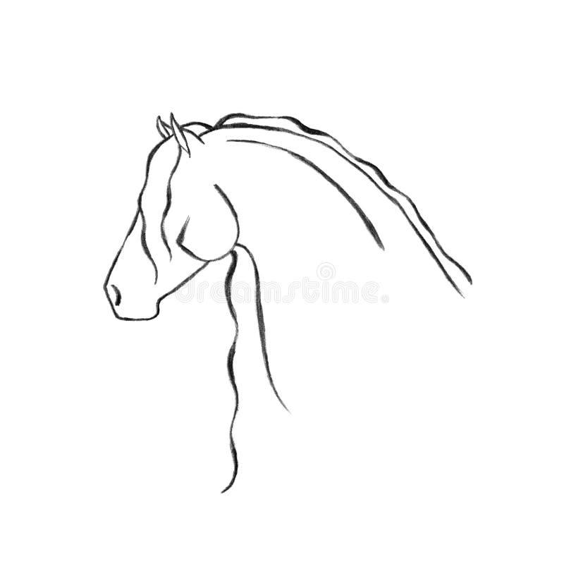 patroszony friesian ręki koń stylizujący ilustracji
