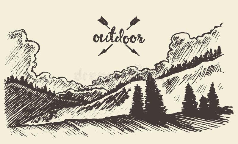 Patroszony krajobrazowy las chmurnieje wektorową ilustrację ilustracja wektor