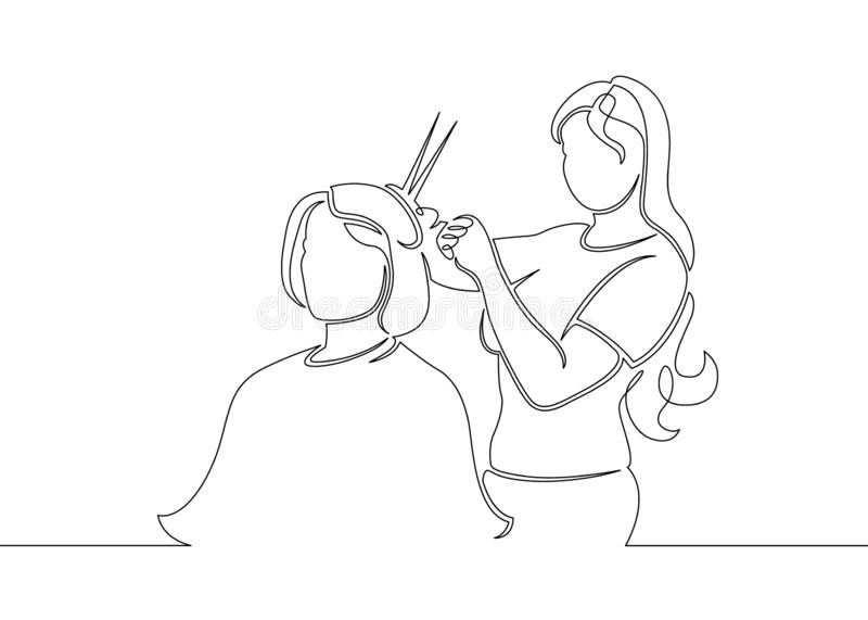 patroszony kreskowej sztuki doodle fryzjer royalty ilustracja