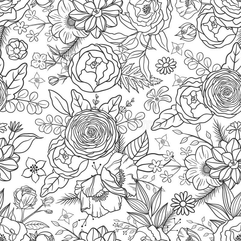 patroszony kwiatów ręki wzór bezszwowy ilustracji