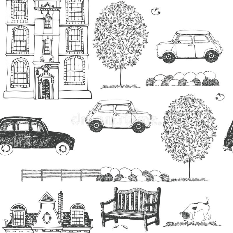 Patroszony nakreślenie miasto ulicy tło ilustracji