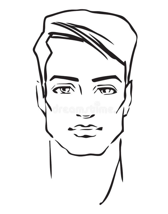 patroszony twarzy mody ręki mężczyzna model ilustracja wektor