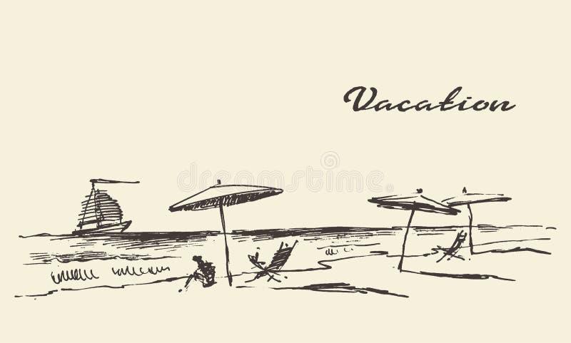 Patroszony urlopowy plakatowy nadmorski widoku plaży nakreślenie ilustracja wektor
