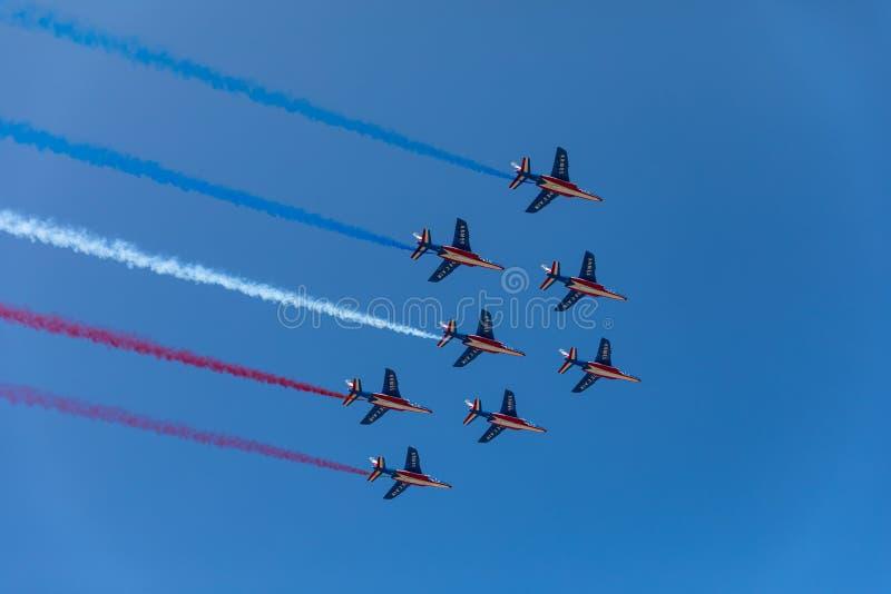 Patrouille acrobatique française de Patrouille De France images stock