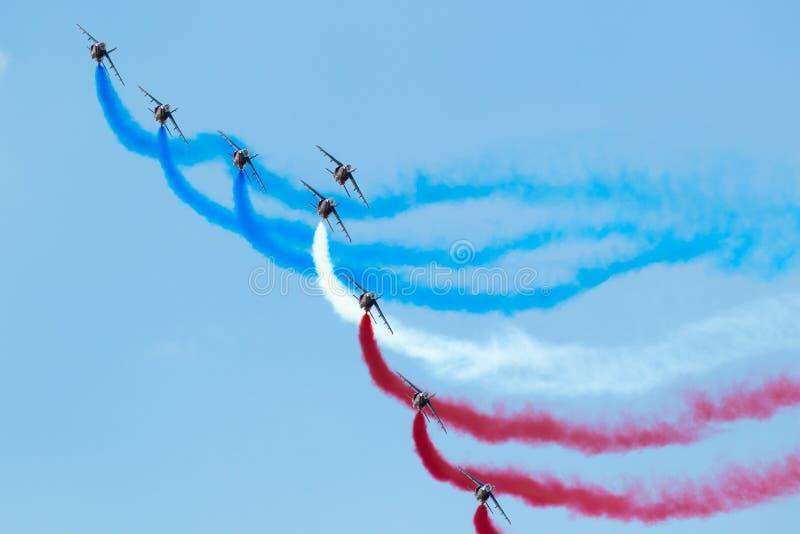 Patrouille DE Frankrijk airshow stock foto