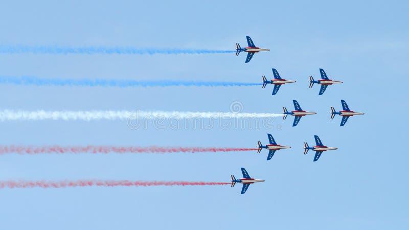 Patrouille DE Frankrijk bij de Internationale Lucht van Parijs toont royalty-vrije stock afbeeldingen