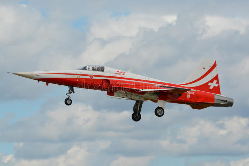Patrouille Suisse/Northrop F-5 Tijger II stock foto's
