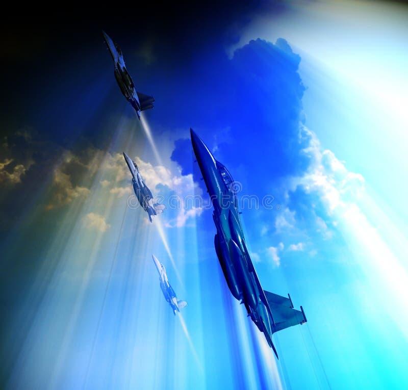Patrouille von den Kämpfern f15, die hoch fliegen stock abbildung