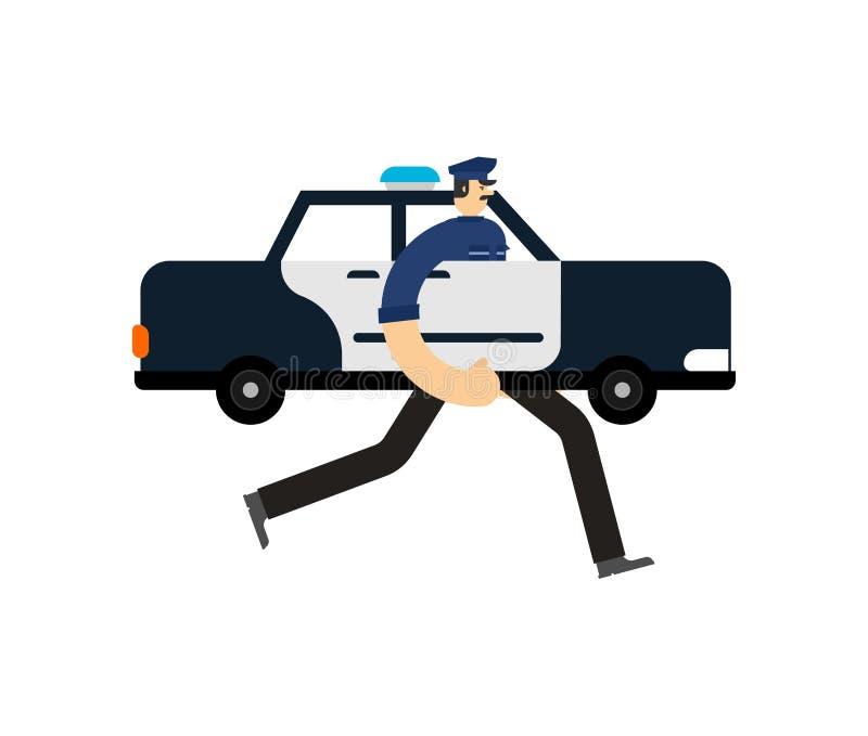 A patrulha do carro de polícia isolou-se Agente da polícia no carro Bobina que patrulha a rua ilustração royalty free