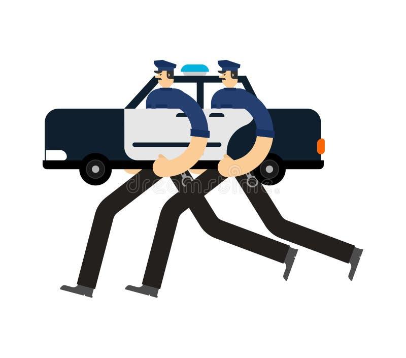 A patrulha do carro de polícia isolou-se Agente da polícia no carro Bobina que patrulha a rua ilustração stock