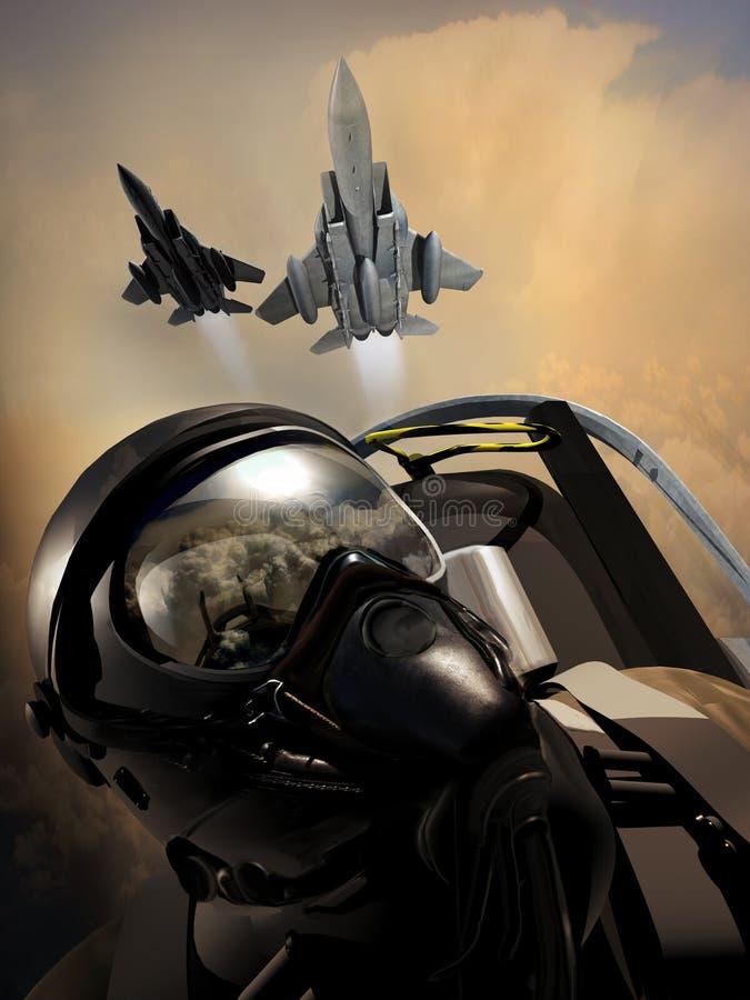 Patrull för kämpepiloter stock illustrationer
