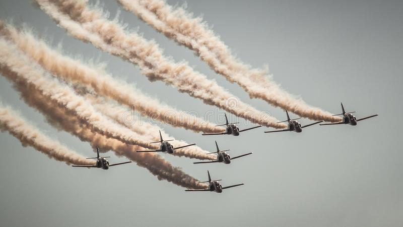 Patrulla Aguila -斯洛伐克国际空气费斯特2016年 库存图片
