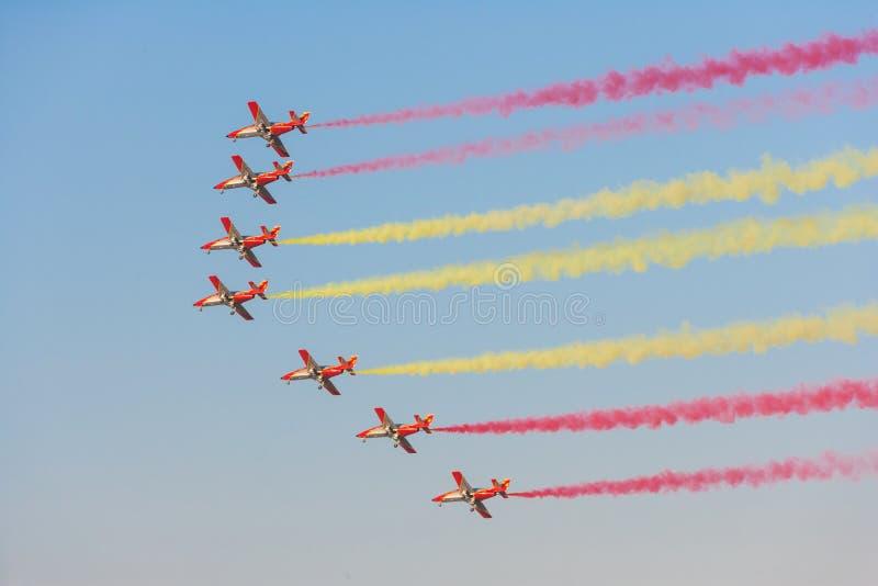 Patrulla Aguila chez Dubaï Airshow images libres de droits