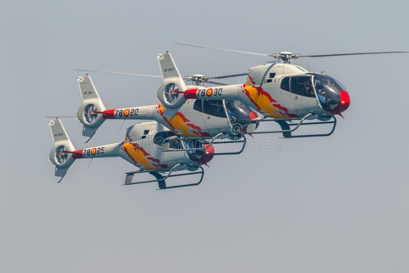 Patrulla Aspa, Helikopter Eurocopter EG-120 Colibri stock afbeeldingen