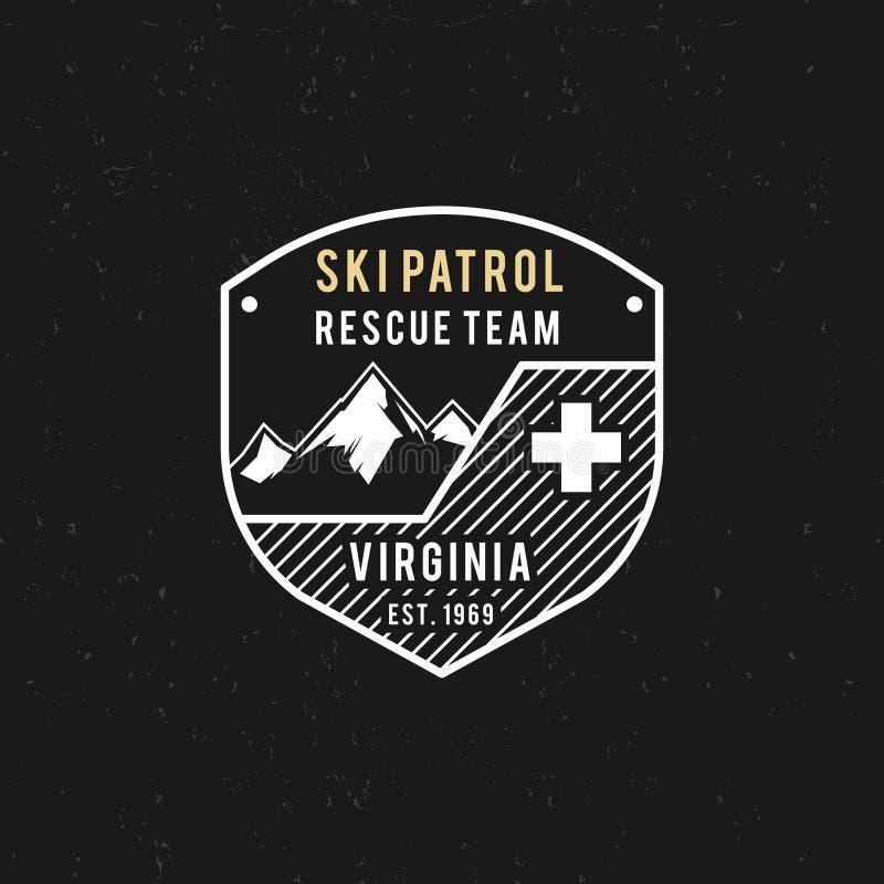 Patrulla del esquí del invierno, etiqueta del equipo de rescate con las montañas Insignia extrema de la aventura del vintage Al a libre illustration