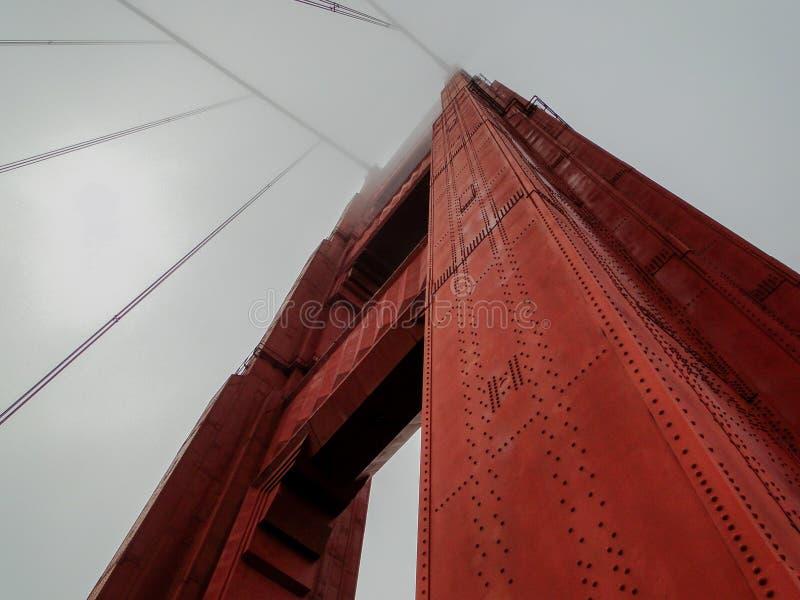 Patrząc w górę na Golden Gate Bridge, Kalifornia, Stany Zjednoczone Ameryki zdjęcie stock