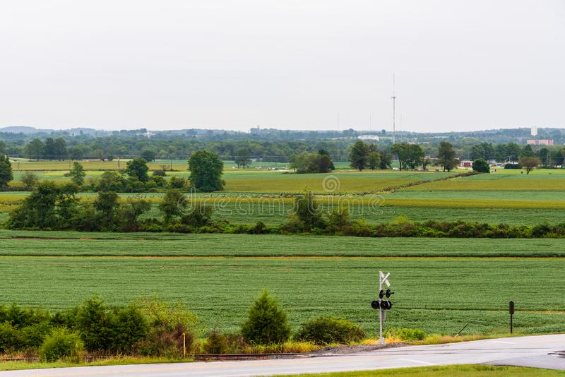 Patrzeć nad łatami ziemia uprawna w Gettysburg zdjęcie royalty free