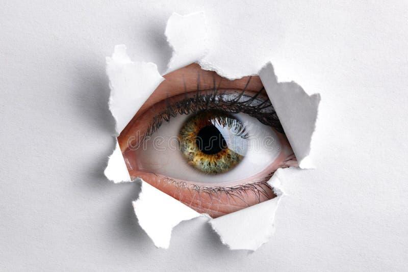 Patrzeć przez dziury w białym papierze fotografia stock