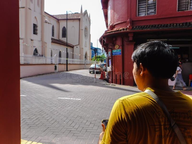 Patrzeć wokoło dziedzictwo budynków w Malacca mieście fotografia stock