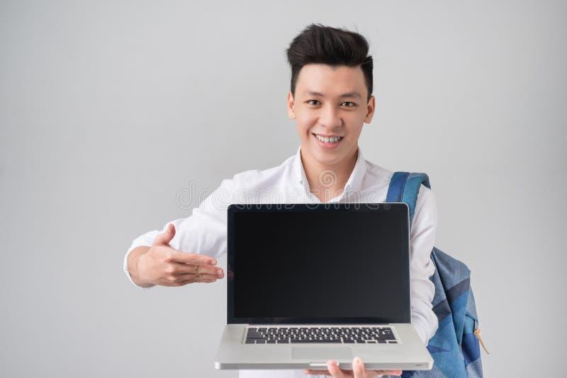 Patrzeje ekran mój laptop! fotografia royalty free