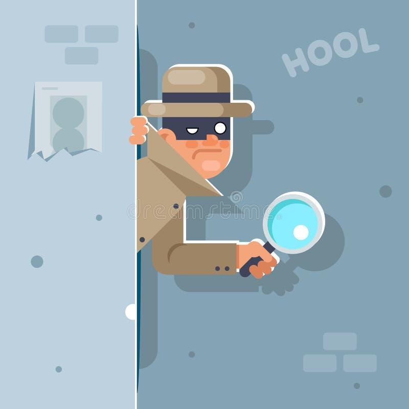 Patrzeje nasz narożnikowego szpiega powiększa - szkła maskowego detektywistycznego postać z kreskówki projekta wektoru płaska ilu royalty ilustracja