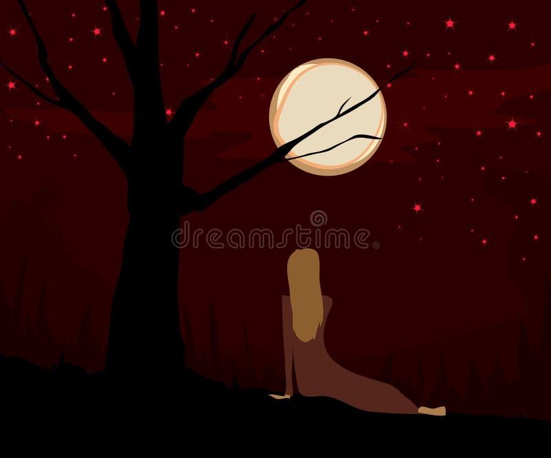 patrzenia na księżyc ilustracja wektor