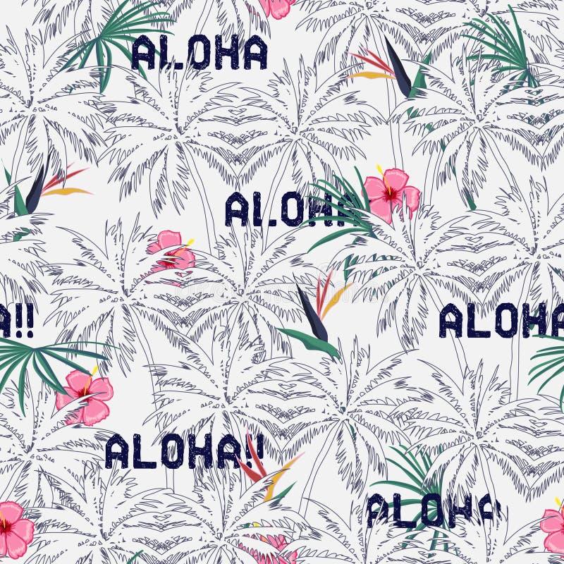 Patt пальмы красивого яркого лета безшовное тропическое экзотическое иллюстрация штока