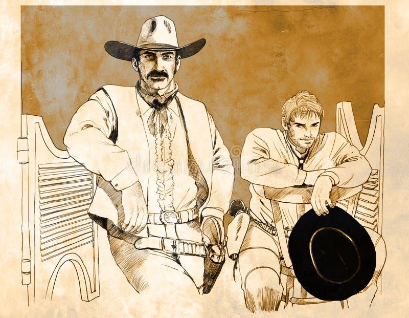 Patt Garrett y Billy el cabrito stock de ilustración