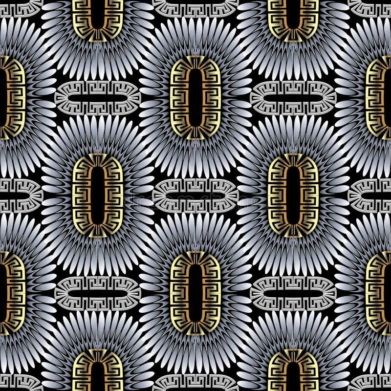 Patt sans couture d'or de vecteur noir argenté géométrique fleuri du Grec 3d illustration libre de droits
