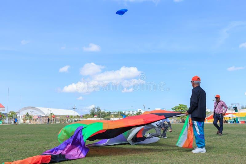 Pattani - MARCH 9- Many Fantasy kites in the International Kite royalty free stock image