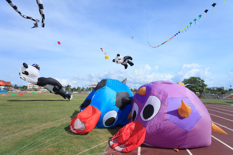 Pattani - MARCH 9- Many Fantasy kites in the International Kite stock image