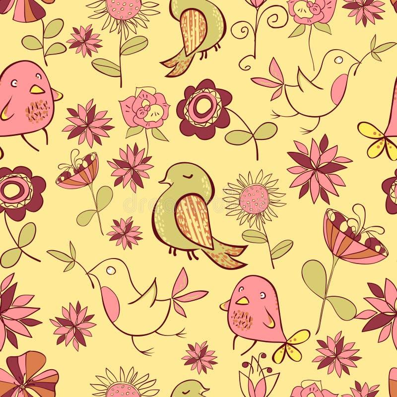 Pattarn van Grappige Gekleurde Vogel en Roze Bloemen op een Geel royalty-vrije illustratie