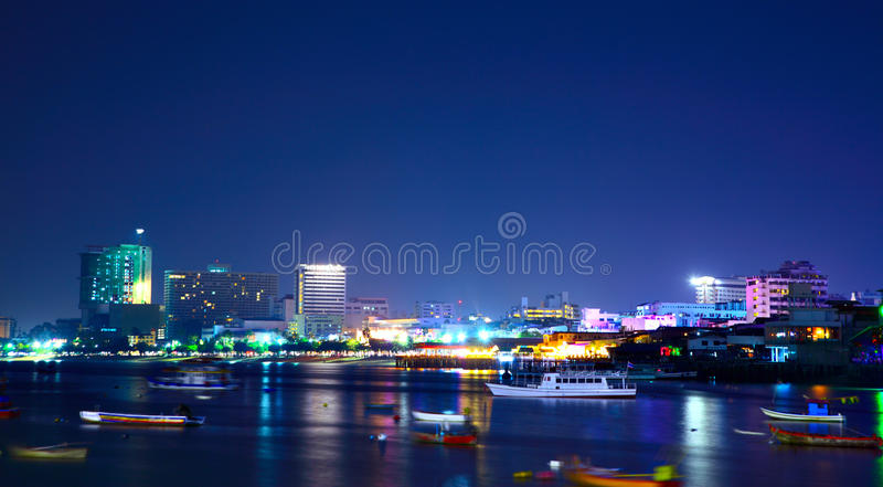 Pattaya. Night view of the Pattaya city, Thailand royalty free stock image