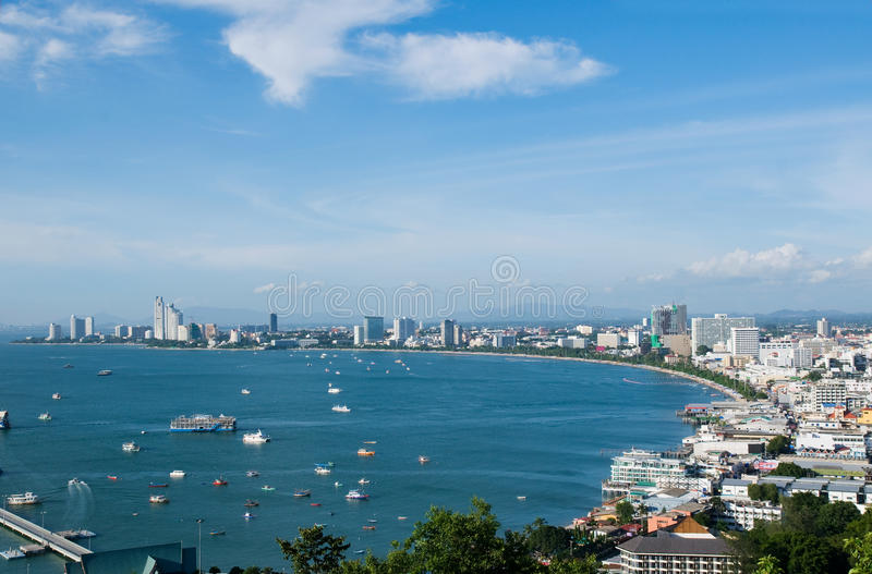 Pattaya Bay. The city of Pattaya and Pattaya Bay in Thailand on a sunny day stock images