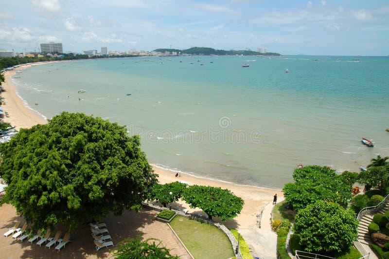 Pattaya bay#5. Tropical trees, boats and islands in Pattaya bay royalty free stock image