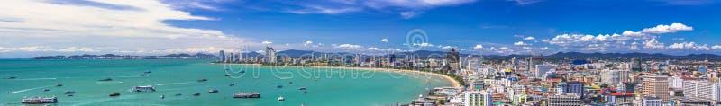 Pattaya Bay. Beautiful gulf and city landscape of Pattaya on summer day royalty free stock photography