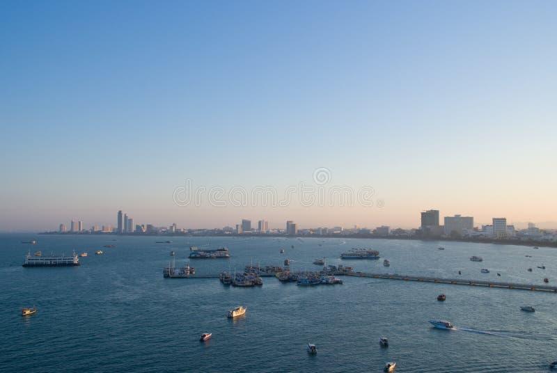 Pattaya Bay in the morning stock image