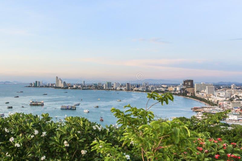 Pattaya bay. A view of Pattaya bay from above. The city lies 200 km away from bangkok stock images