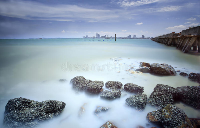 Pattaya beach. With a very slow shuter speed photo by use 10 stop ND filter stock photography
