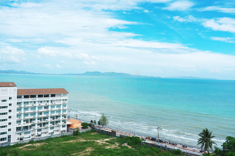 Pattaya beach. View from thailand (high angle view stock photography