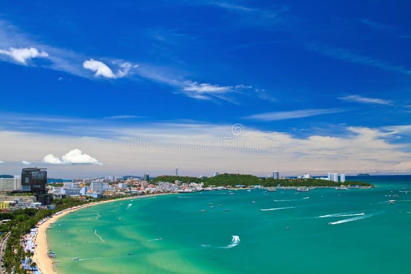 Pattaya beach. And city bird eye view, Chonburi, Thailand stock photography