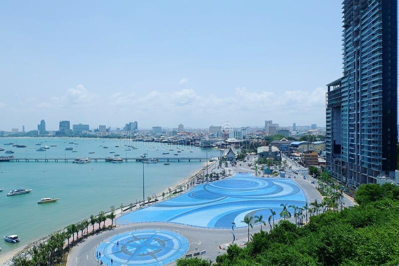 Pattaya beach view point near walking street, Thailand stock photos