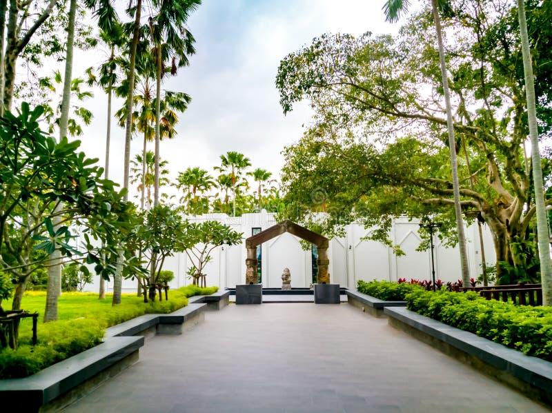 Pattaya Chonburi, Thailand, July 2017 : The walk way to the wax figure museum at Wat Yannasangwararam stock image