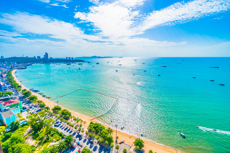 Pattaya city and bay. Beautiful architecture around Pattaya city with sea and ocean bay in Thailand stock photos