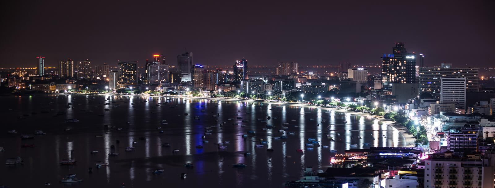Pattaya City and beach at night view from Pratumnak Hill overlook royalty free stock photography