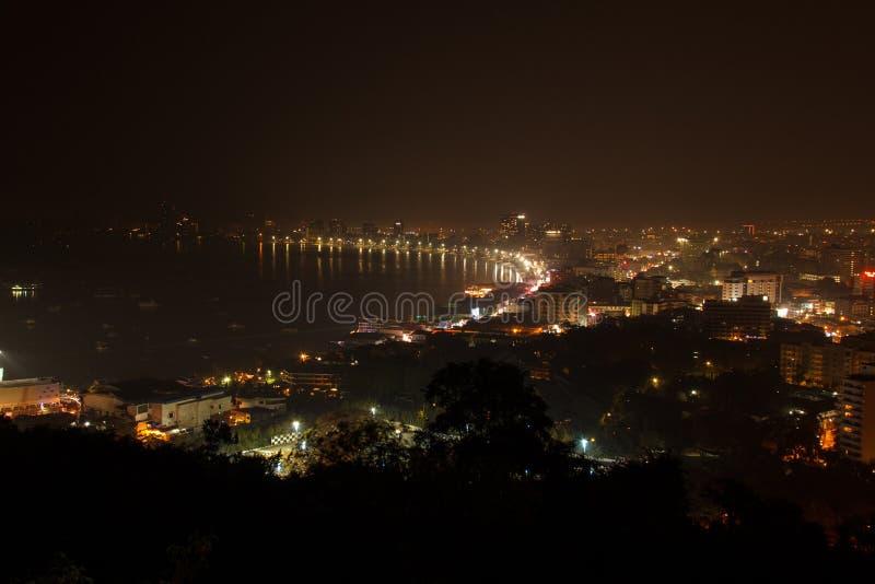 Pattaya City and Pattaya Beach night view stock photo