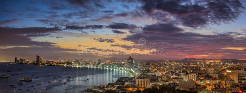 Pattaya City beach. And Sea along morning sunrise Twilight, Thailand royalty free stock photo