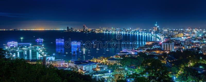 Pattaya City. Beach and Sea in Twilight, Thailand stock photo