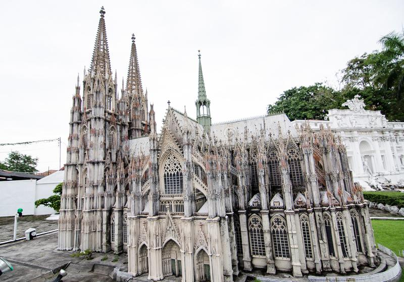 Cologne Cathedral is a Roman Catholic cathedral at miniature park is an open space that displays miniature buildings and models. royalty free stock photography